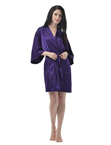 Remedios Femme Satin Soyeux Peignoir Court Kimono Robe de chambre Nuisettes Aubergine