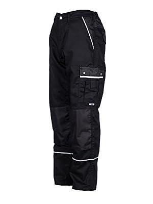 TMG® - Herren Bundhose/Cargohose mit Kniepolstertaschen - strapazierfähig - Schwarz