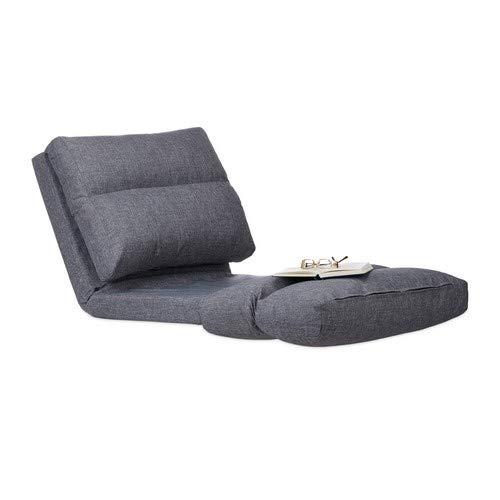 Relaxdays Relaxliege Sessel, Faltmatratze, verstellbare Lehne, Polster, für Drinnen, Bodensitzkissen, 194 cm lang, grau, Standard -