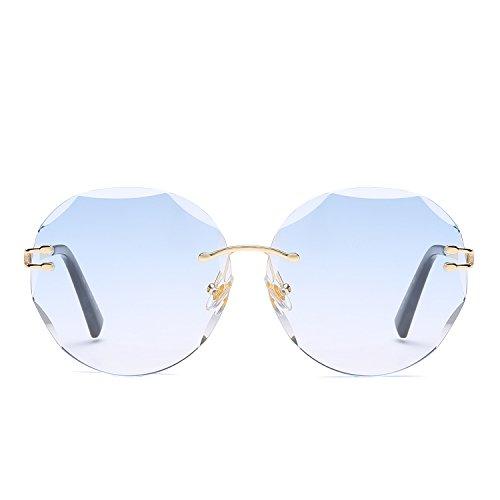 Amio Sonnenbrille Farbe Film Mode Katze Brille Metall Sonnenbrille Damen Sonnenbrille (Color : Red Blue)