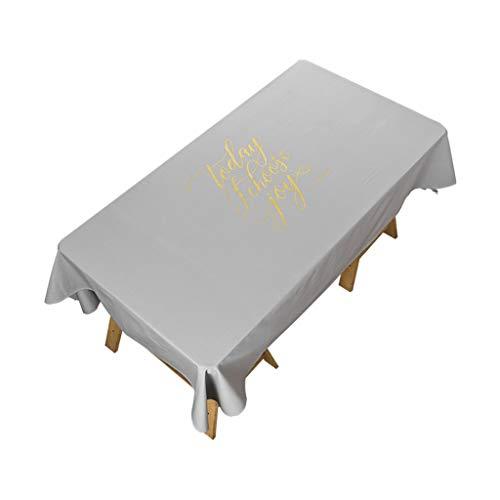 Couverture de table antipoussière grise de simplicité moderne de nappe de rectangle pour la décoration de table de table parties d'intérieur ou extérieures, utilisation quotidienne, 140 * 200CM