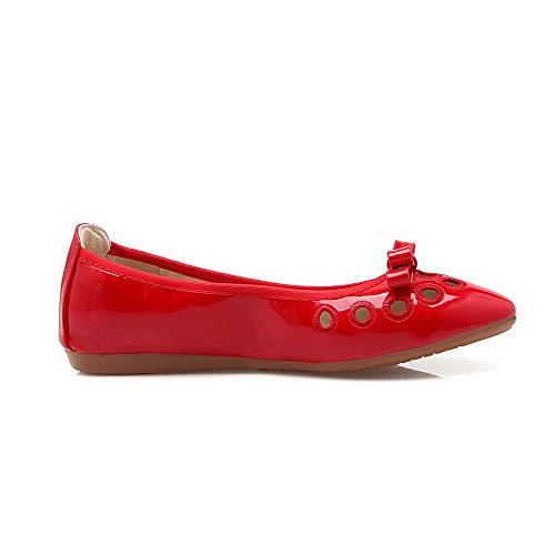 AalarDom Damen Weiches Material Ziehen Auf Spitz Zehe Niedriger Absatz Pumps Schuhe Rot-Lackleder