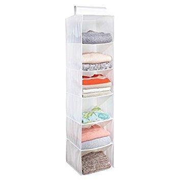 Mdesign organizer armadio con 6 scomparti – portatutto pensile in stoffa – organizzatore armadio da appendere – per vestiti e scarpe – bianco