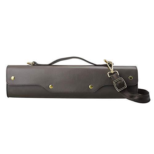 su-luoyu Leder Flöte Fall Portable Wasserdicht Flöte Case Aufbewahrungsbox Flöte Musikinstrument Zubehör Mit Verstellbaren Schultergurt Für 16/17 Löcher Flute