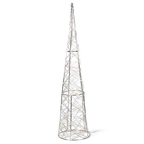 SnowEra LED Dekorationsleuchte in warmweiß | Weihnachtsbeleuchtung aus Metall in Kegelform | Höhe: 60 cm | Weihnachtsdeko für innen | Leuchtkegel inkl. Micro Lichterkette mit 140 LEDs