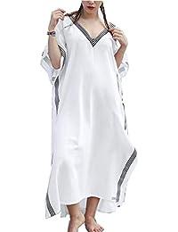 b09a0f2e91 L-Peach Women s Floral Embroidery Kimono Long Dress Maxi Kaftan Summer Beach  Boho Cover up