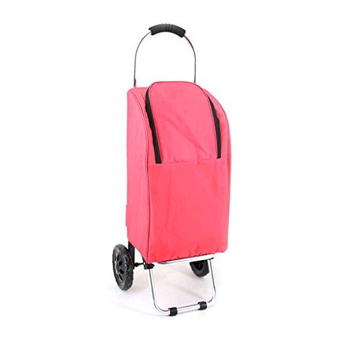 DS WagenⓇ Hand-LKW-Isolierungs-Raum-Aluminiumrohr-Laufkatzen-faltendes Zug-Rod-Gepäckwagen-tragbares Hauptwasserdichter Einkaufswagen-25 Kilogramm-Last # (Farbe : Pink)