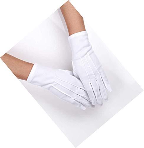 Xhuan 3 Paar Baumwoll-Handschuhe, Nylon, Weiß, Kostüm-Handschuhe, für Polizei, Smoking, Brautgarde und besondere Anlässe (3 Nähte) (Paar Polizei Kostüme)