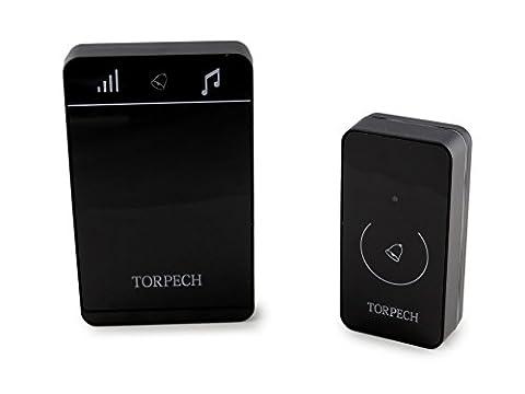 Torpech DB-100 sonnette de maison intelligente IP44 étanche sans fil Premium avec 150 m de portée et 52 capteurs tactiles et mélodiques sans fil et une installation facile
