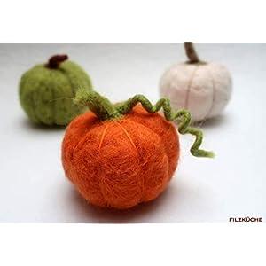Kürbis 3 Stück gefilzt Herbst Handarbeit Herbstdeko