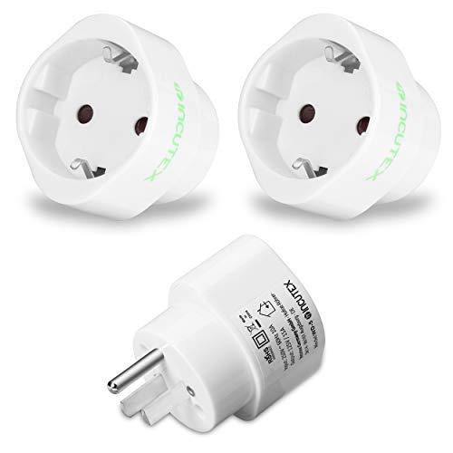 Incutex 2X USA Adapter Reiseadapter US Reisestecker travel Plug Typ F auf Typ B weiß