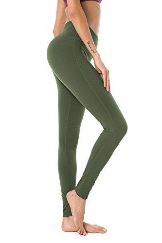 QUEENIEKE Damen Power Flex Yoga Hosen Training Laufende Leggings Farbe Armee-Grün Größe L(12 -