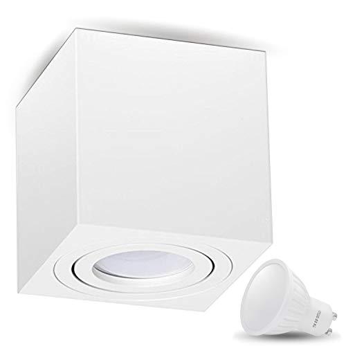 Aufbauleuchte Deckenleuchte Aufputz MILANO 7W LED Kaltweiss GU10 Fassung 230V [eckig, weiss, schwenkbar] Deckenleuchte Strahler Deckenlampe Würfelleuchte Cube Kronleuchter aus Aluminium Spot
