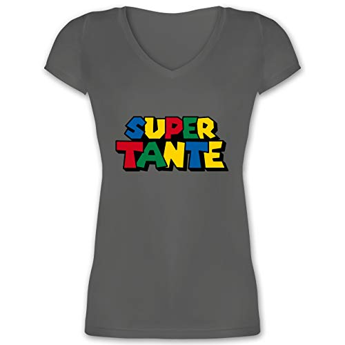 Nerds & Geeks - Super Tante - XXL - Anthrazit - XO1525 - Damen T-Shirt mit V-Ausschnitt -