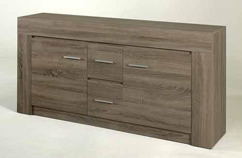 Sideboard in Sonoma Eiche Dunkel-Nachbildung, mit 2 Türen und 2 Schubkästen, Maße: B/H/T ca. 162/80/40 cm - 2