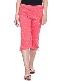 FflirtyGo Women's Comfort Capri, Night Pyjamas Women, Night Dress, Lounge Wear, Pink Color Printed 3/4 Pyjama,–Soft Cotton Night Wear