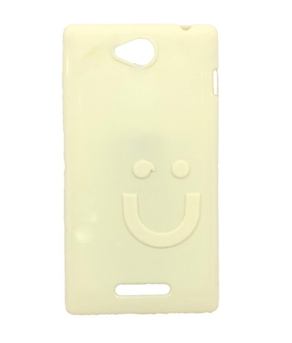 iCandy™ Imported Quality Soft TPU Smiley Back Cover For Sony Xperia C C2305 S39H - White  available at amazon for Rs.99