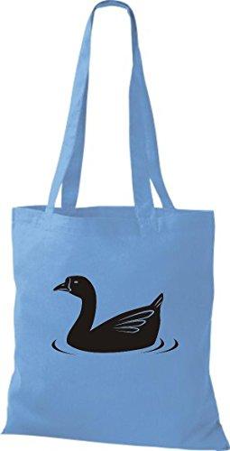 Shirtstown Stoffbeutel Tiere Ente, Duck Hellblau