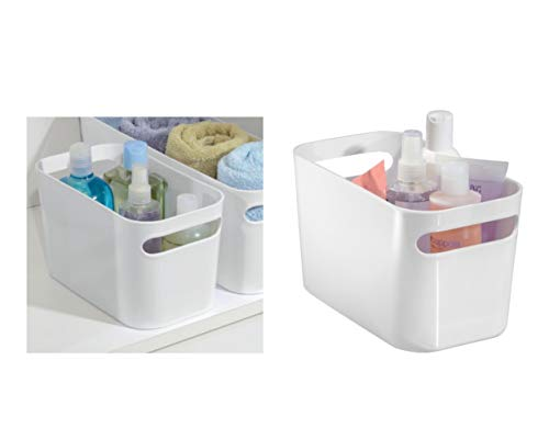 iDesign boîte de rangement avec poignées, petit rangement cuisine en plastique pour la maison, bac plastique pratique pour salle de bain ou la chambre, blanc
