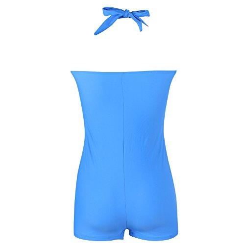 FeelinGirl Damen Neckholder Push Up Tankini mit Hotpants Badeanzug Schlankheits Mit Röckchen Bademode Dunkelblau