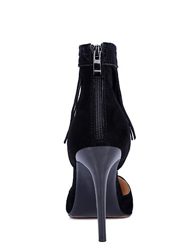 UWSZZ IL Sandali eleganti comfort Scarpe Donna-Sandali-Formale / Casual / Serata e festa-Tacchi / A punta-A stiletto-Scamosciato-Nero / Tessuto almond Black
