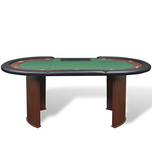 vidaXL Pokertisch für 10 Spieler mit Dealerbereich und Chipablage Grün - 3