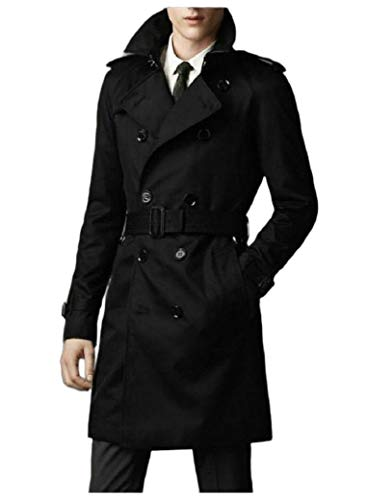 CuteRose Mens Belted Double-Breasted Premium Classic Big & Tall Trench Coat Black M Classic Double-breasted Peacoat