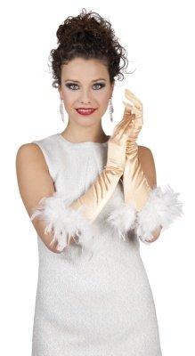 HAAC Handschuhe lang glänzend Farbe gold mit Federn für Fasching Karneval Party