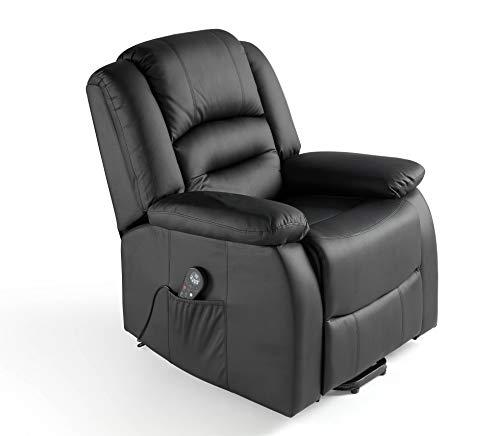 ECO-DE Sillón Masaje Relax Maximum 9 programas con Calor Lumbar,reclinación manual ECO-8198 Color negro