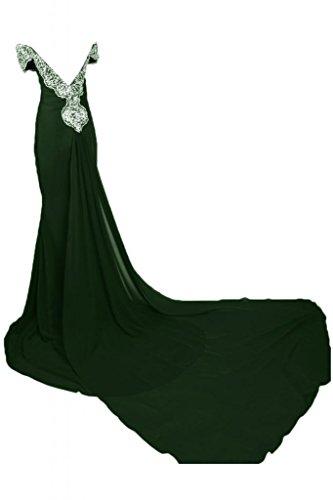 Sunvary Romantic Off-L, scollo a spalla abito da sera Maxi Pageant per vestiti da donna Verde scuro