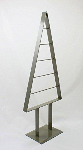 edelstahlheini.de Tannenbaum Metall künstlich Weihnachtsbaum Edel Moosgrau Hochglanz 98cm