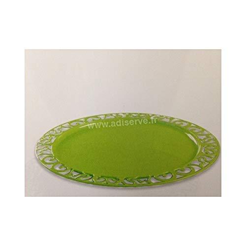 Adiserve sous-Assiette Ronde Vert anis 30 cm par 4