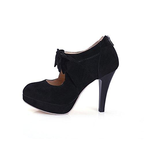 Vintage Damen Schuhe Pumps High Heels Beige Brautschuhe mit Schleife Stilettosabsatz Schwarz-LATH.PIN® -
