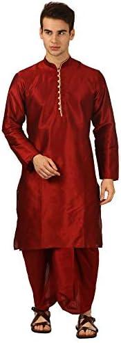 Devyom Men's Silk Straight Regular Fit Dhoti Kurta Set (