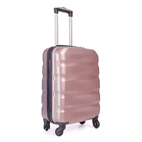 55x40x20cm Lightweight Ryanair Maximum Size Carry On Hand Cabin Luggage Suitcase,Bagaglio a Mano Unisex, (55cm-31.5L) (Oro rosa)