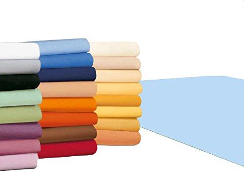 badtex24 Spannbettlaken 90 100 x 200 Spannbetttuch Bettlaken Jersey 100% Baumwolle 20 Farben Hellblau 90x190-100x200cm