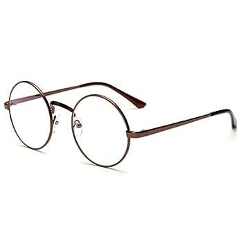 Unisex Retro Glasses Round Metal Frame Clear lens Sunglasses Vintage Geek Eyeglasses Brwon