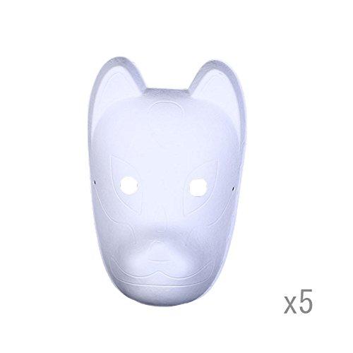 Meimask DIY 5 stücke Weißes papier Maske Zellstoff Blank Handgemalte Maske Persönlichkeit Kreative Freie Design Maske (Fuchs)