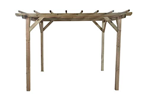 G&C Henley Holzpavillon - klassische viereckige Pergola aus Fichtenholz - druckimprägniert - Maße: H215 cm x 300 cm x 300 cm