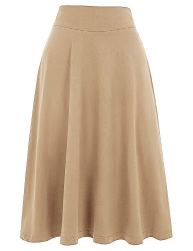 Damen Rock Faltenrock hohe Taille Basic Skirt Flared Rock a-Linie Faltenrock KK279-9 S