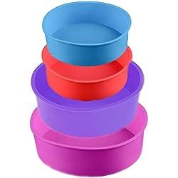 Lot de 4 moules à gâteau ronds en silicone anti-adhésifs de 10,2cm et 15,2cm pour fête d'anniversaire, anniversaire de mariage (bleu/rouge/violet/rose)