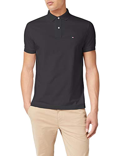 Tommy Hilfiger Herren CORE Tommy Regular Polo Poloshirt, Schwarz (Flag Black 032), Small