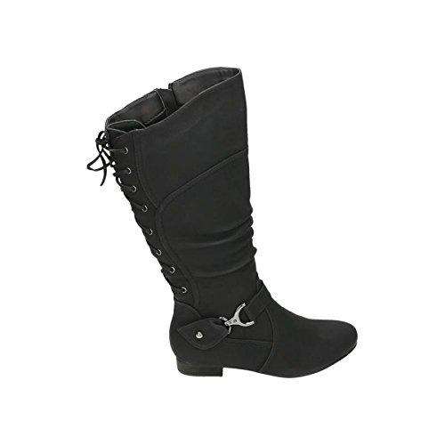Klassische Stiefel Damen Nieten Schnallen Leder-Optik Schuhe 123397 Schwarz 37 Flandell