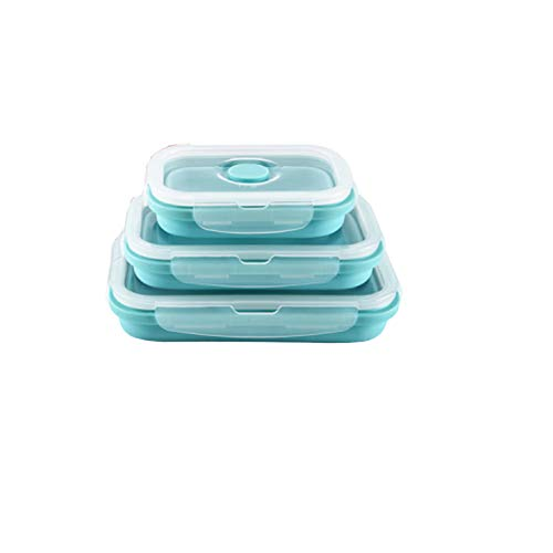 Faltbare Brotdosen, Brotdosen Und Snackboxen Aus Silikon Mit Praktischen Muscheln, Dosen, Mikrowellen, Mikrowellen Und Gefriergeräten. (Blau)