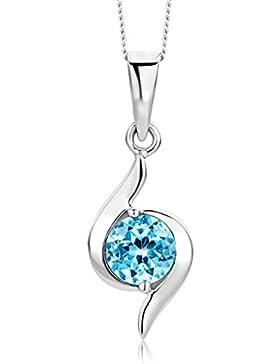 Miore Damen-Halskette 375 Weißgold 1 Topas 0.6ct blau 45 cm