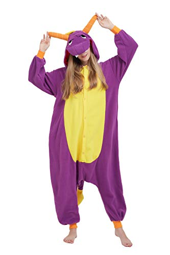 Fandecie Tier Kostüm Tierkostüm Tier Schlafanzug Drache Pyjamas Jumpsuit Kigurumi Damen Herren Erwachsene Cosplay Tier Fasching Karneval Halloween (Lila Drache, XL:Höhe 180-189cm)