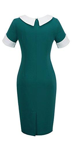 Homeyee UK832 - Abito da donna, stile vintage, aderente, da damigella d'onore, con elementi patchwork Turquoise