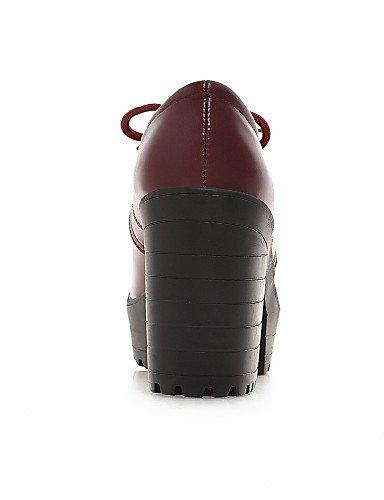 ZQ hug Scarpe Donna - Scarpe col tacco - Casual - Tacchi - Quadrato - Finta pelle - Nero / Rosso / Beige , red-us10.5 / eu42 / uk8.5 / cn43 , red-us10.5 / eu42 / uk8.5 / cn43 black-us6.5-7 / eu37 / uk4.5-5 / cn37