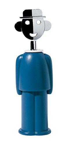 Alessi Aam23 Az Alessandro M. Tire-bouchon en Résine Thermoplastique, Bleu et Zamac Chromée