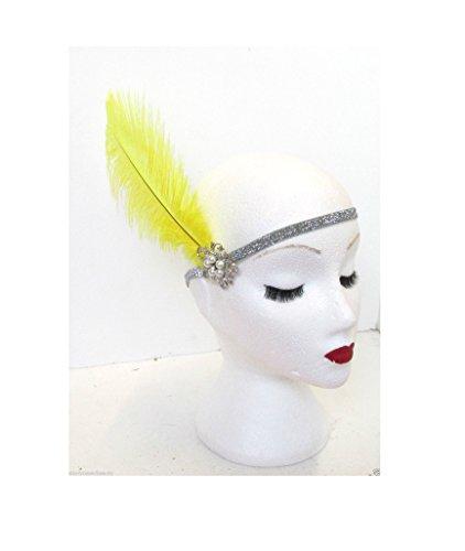 Starcrossed Beauty M62 Bandeau argenté avec plume d'autruche jaune et perles Style vintage années 1920